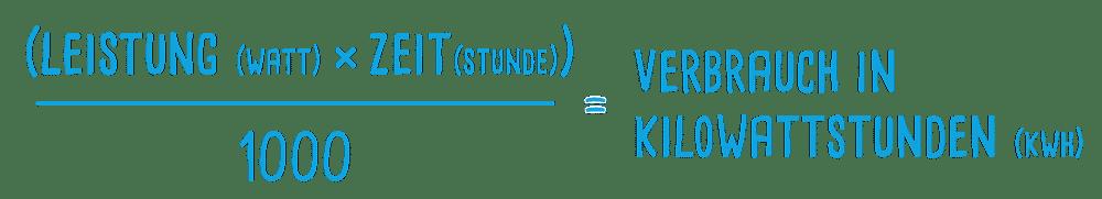 Berechnung Kilowattstunde